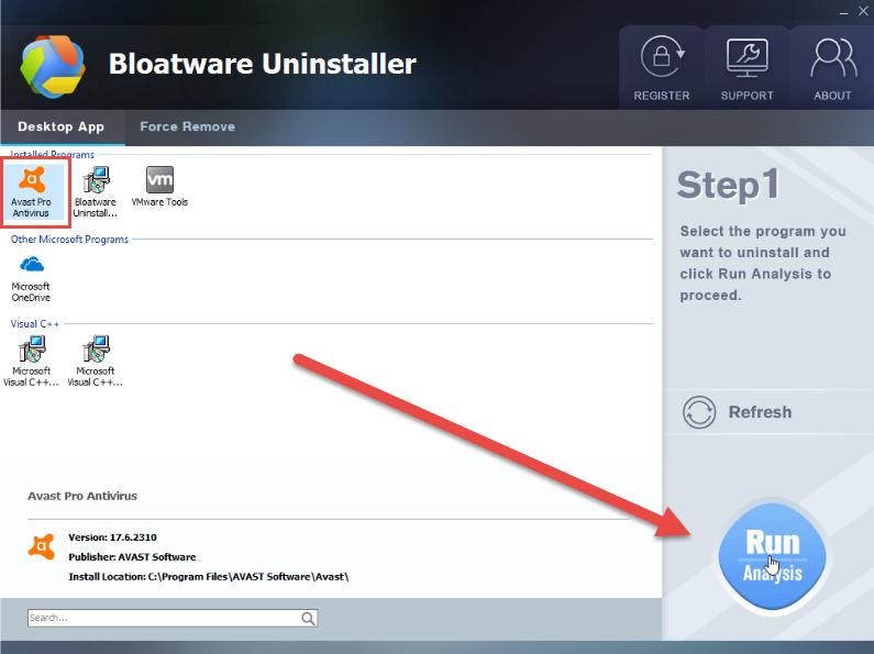 uninstall Avast Pro Antivirus 2017