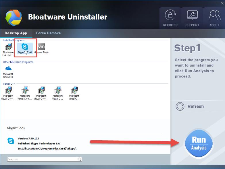 remove Skype with Bloatware Uninstaller