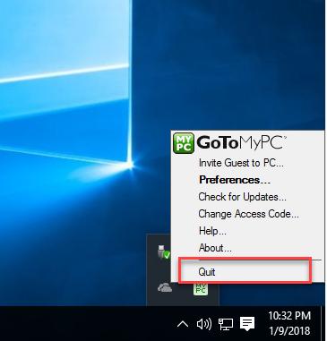 quit GoToMyPC