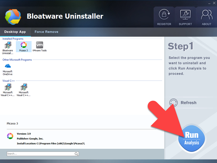 uninstall Picasa with bloatware uninstaller