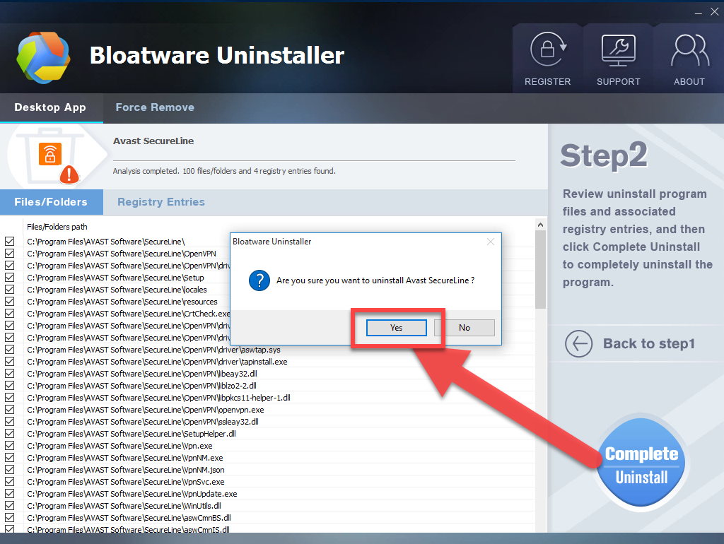 complete_uninstall_Avast_SecureLine