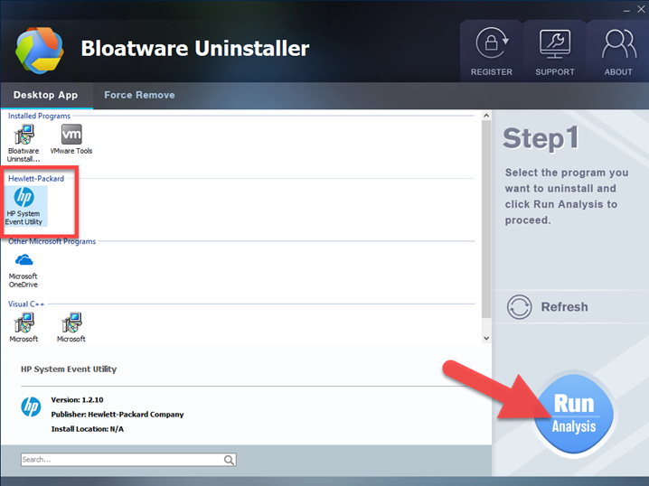 uninstall HP System Event Utility with Bloatware Uninstaller