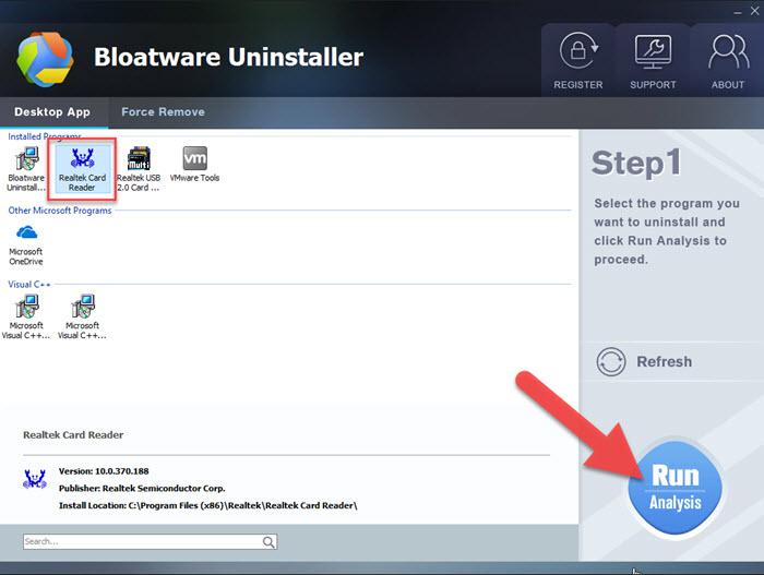 uninstall Realtek Card Reader