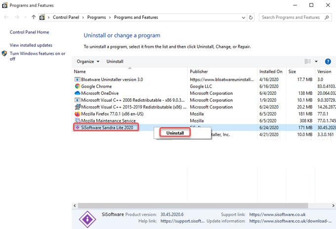remove SiSoftware Sandra