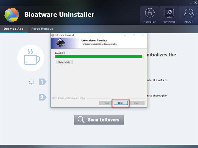 uninstall Inkscape