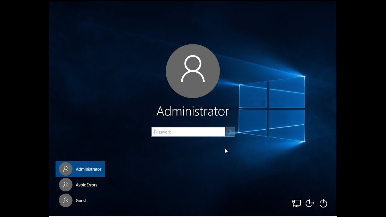 log in with administrator account