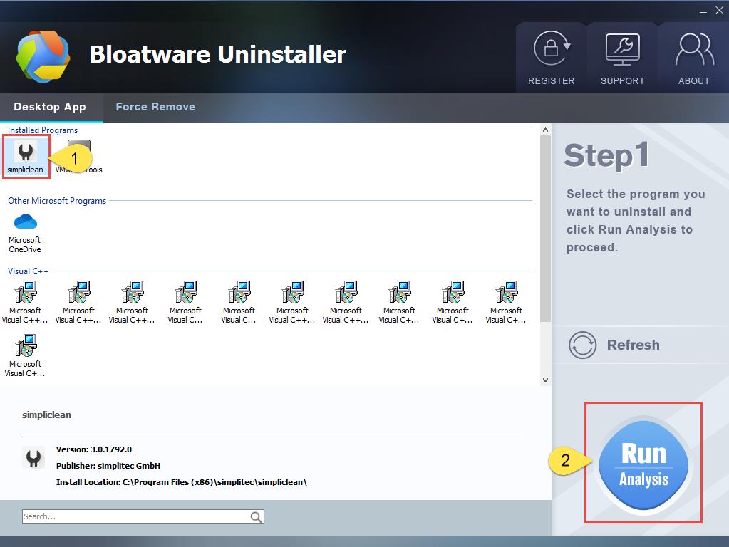 Remove Simpliclean with Bloatware Uninstaller