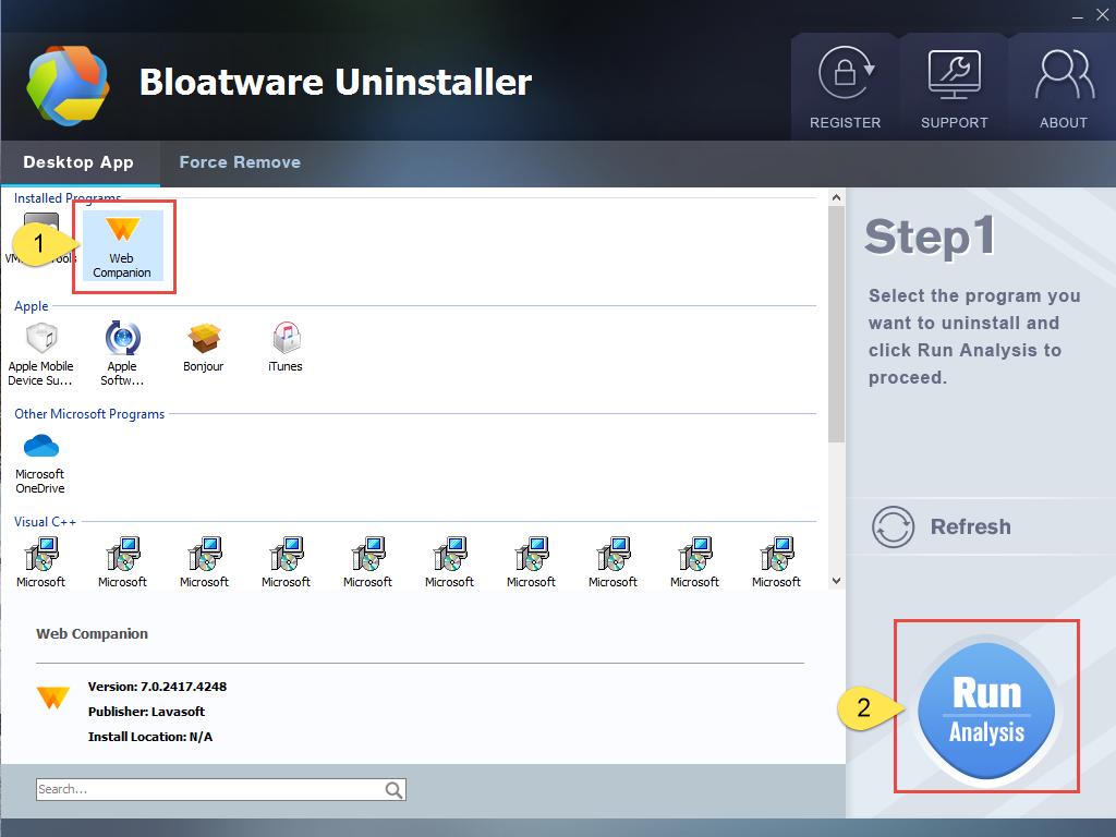 Remove Web Companion with Bloatware Uninstaller