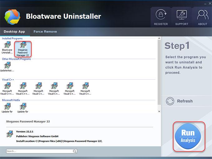 remove Steganos Password Manager