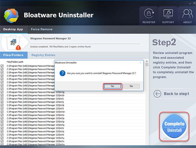complete remove Steganos password manager