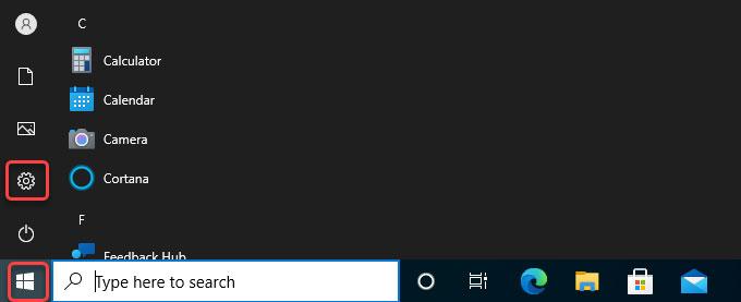 start menu-settings