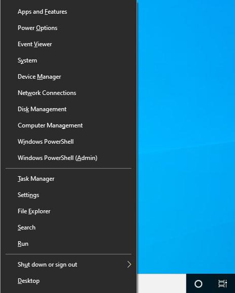 Windows + X keys